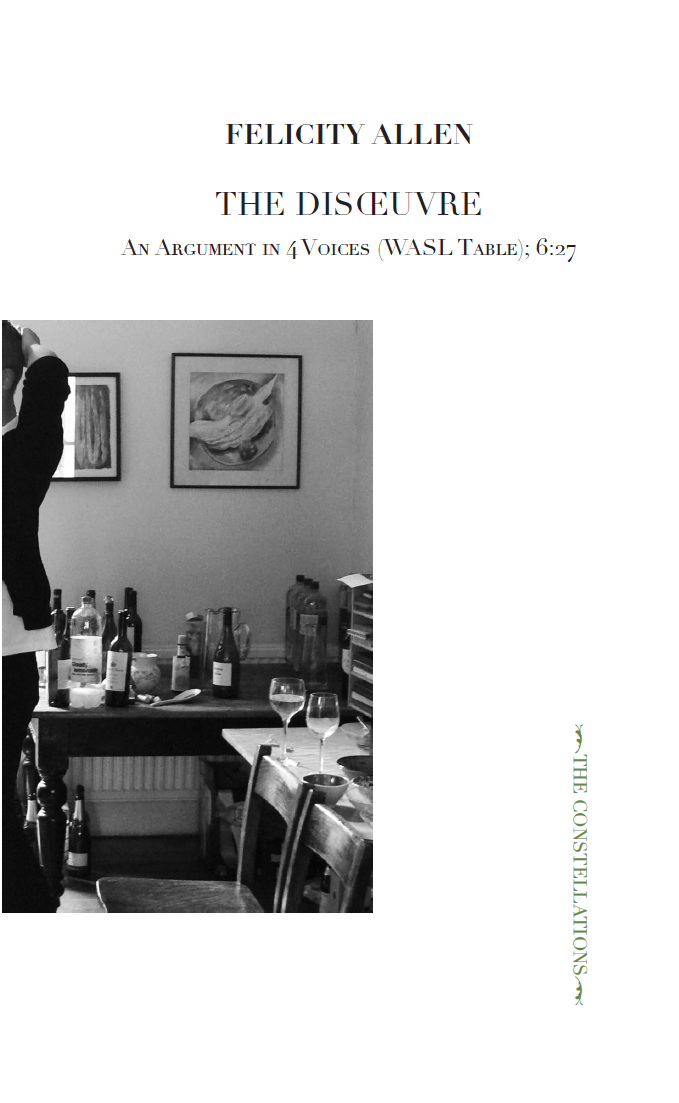 The Disoeuvre: An Argument In 4 Voices (WASL Table), Variation 6:27, 2019, Ma Bibliothèque